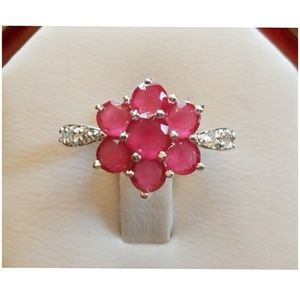 1.3ct Natural Ruby and White Topaz Ring Size 6&8